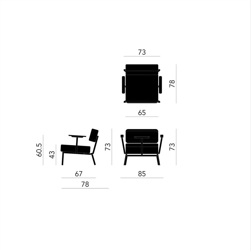 Design zitbank | Ode lounge chair 1 seater with armrest tonica2 612 | Studio HENK | Schematic