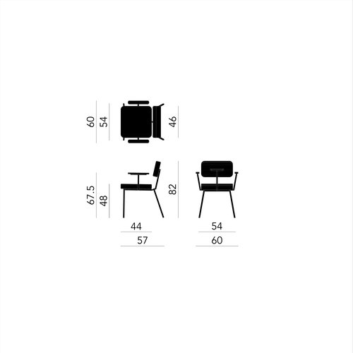 Design eetkamerstoel | Ode Chair with armrest juke pink73 | Studio HENK | Schematic